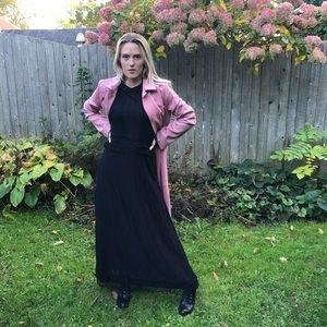 Zara Long Black Lace Dress Sz M